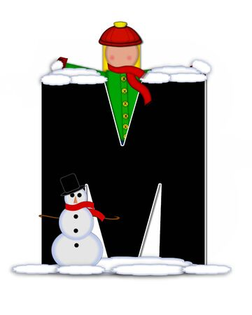 snow cap: The letter M, in the alphabet set Children Building Snowman is black and outlined with white.  Child holds wearing cap, scarf and mittens, holds snow ready to pack onto his snowman.