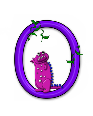 jungle vines: The letter O, in the alphabet set Dino Roaring, is decorated with jungle vines and a 3D dinosaur.