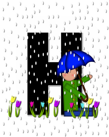 showers: The letter H, in the alphabet set Children April Showers is black and trimmed with white.  Child holds unbrella while rain drops fall on her and Spring tulips. Stock Photo