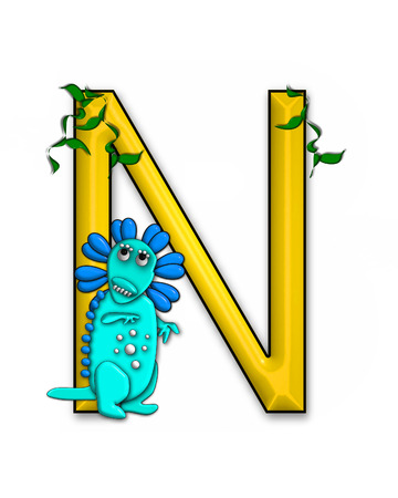jungle vines: The letter N, in the alphabet set Dino Roaring, is decorated with jungle vines and a 3D dinosaur.