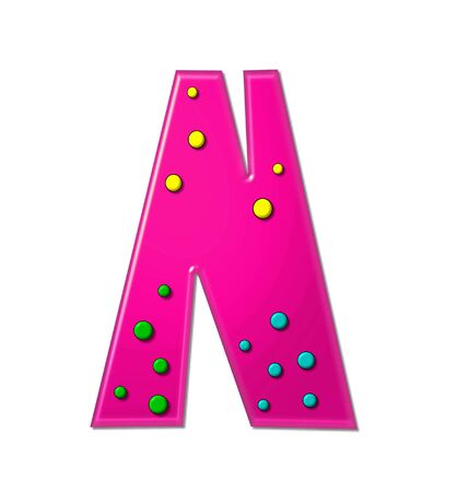 hot pink: The letter N, in the alphabet set Polka Dot Party, is hot pink.   3D multi-colored dots decorate letter.