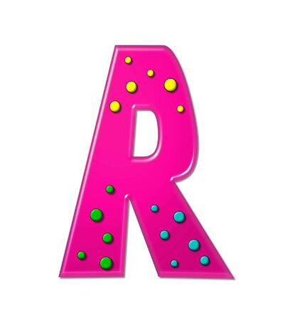 The letter R, in the alphabet set Polka Dot Party, is hot pink.   3D multi-colored dots decorate letter.