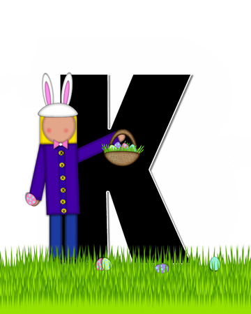 tall grass: The letter K, in the alphabet set Children Easter Eggs is black and trimmed with white.  Child with basket hunts for Easter eggs in the tall grass.