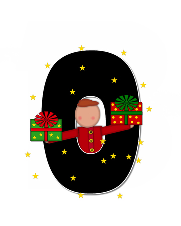 child holding sign: The letter O, in the alphabet set Children Christmas Gift is black and trimmed with white. Child holds Gift and is surrounded by golden stars.
