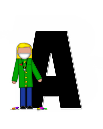 cuff: The letter A, in alphabet set Children Healthcare is black.  Letters are decorated with Physician, perscription and medical equipment such as thermometer, stethoscope, and blood pressure cuff.