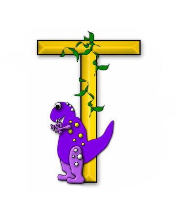 jungle vines: The letter T, in the alphabet set Dino Roaring, is decorated with jungle vines and a 3D dinosaur.