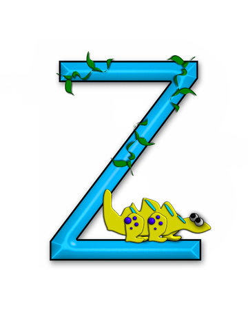 jungle vines: The letter Z, in the alphabet set Dino Roaring, is decorated with jungle vines and a 3D dinosaur.