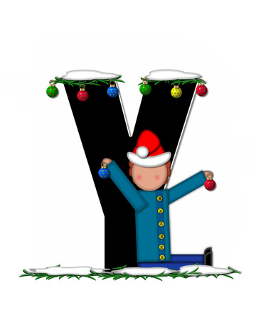 pine boughs: The letter Y, in the alphabet set Children Christmas Ornaments, is decorated snow and pine boughs.  Child has Santa Claus hat nad decorates leter.