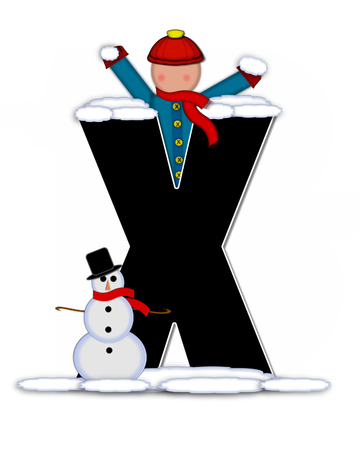 snow cap: The letter X, in the alphabet set Children Building Snowman is black and outlined with white.  Child holds wearing cap, scarf and mittens, holds snow ready to pack onto his snowman.