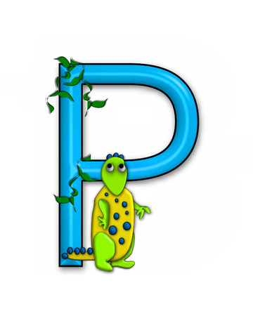 jungle vines: The letter P, in the alphabet set Dino Roaring, is decorated with jungle vines and a 3D dinosaur.