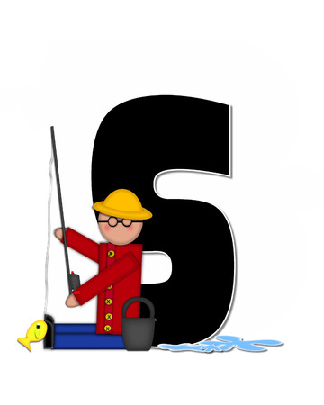 water s: The letter S, in the alphabet set Children Gone Fishing, is black outlined with white.  Children, rod and reel, bucket, water and fish decorate letter. Stock Photo