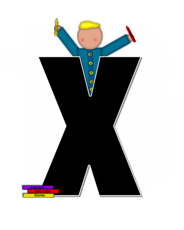 reflects: The letter X, in the alphabet set Children Play Time, is decorated a child holding toys that reflects the many things from childhood, including, yoyo, trucks, cars, dolls, sports equipment and stuffed toys.