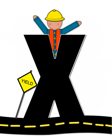 The letter X, in the alphabet set Children Highway Construction, is black and outlined with white.  Child stands or sits on highway holding highway construction signs.