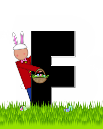 tall grass: The letter F, in the alphabet set Children Easter Eggs is black and trimmed with white.  Child with basket hunts for Easter eggs in the tall grass. Stock Photo