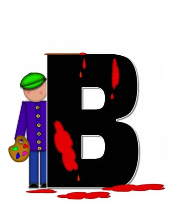 The letter B, in the alphabet set Children Creative, is black and outlined with white.  Child holds artist palette and paintbrush as she splashes paint on letter and floor.