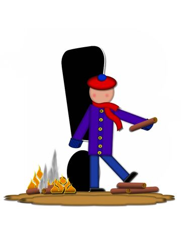 Exclamation mark, in the alphabet set Children Camp Fire is black and outlined with white.  Children, are dressed in cap, scarf and mittens and at their feet is a camp fire.