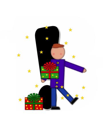 """point exclamation: Point d'exclamation, dans l'ensemble de l'alphabet """"cadeau de Noël des enfants» est noir et garni de blanc. Enfant détient cadeau et est entouré par des étoiles dorées."""