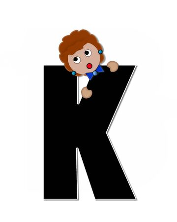 peek: The letter K, in the alphabet set Childlike Expressions, is black and outlined with white.  Children peek around edges of letters with a collection of different smiles and expressions. Stock Photo