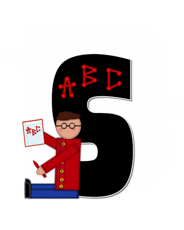 gradeschool: The letter S, in alphabet set Children ABCs is black.  Letters are decorated with colorful ABCs.  Child holds crayon and homework paper with the letters ABC on it. Stock Photo