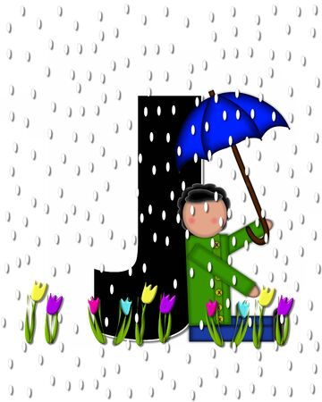 rain drops: The letter J, in the alphabet set Children April Showers is black and trimmed with white.  Child holds unbrella while rain drops fall on her and Spring tulips. Stock Photo