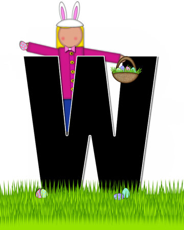tall grass: The letter W, in the alphabet set Children Easter Eggs is black and trimmed with white.  Child with basket hunts for Easter eggs in the tall grass.