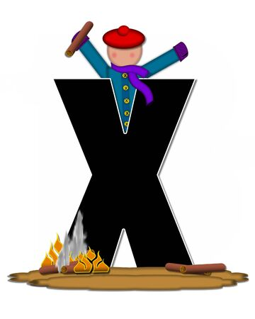 The letter X, in the alphabet set Children Camp Fire is black and outlined with white.  Children, are dressed in cap, scarf and mittens and at their feet is a camp fire.
