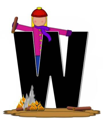 The letter W, in the alphabet set Children Camp Fire is black and outlined with white.  Children, are dressed in cap, scarf and mittens and at their feet is a camp fire.
