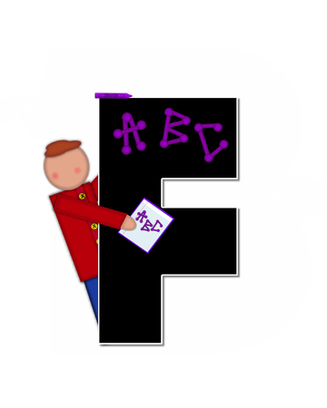 The letter F, in alphabet set Children ABCs is black.  Letters are decorated with colorful ABCs.  Child holds crayon and homework paper with the letters ABC on it.