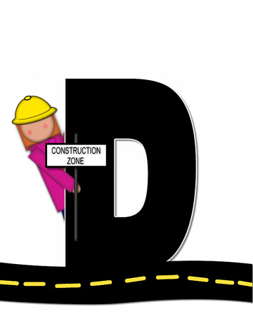 highway signs: The letter D, in the alphabet set Children Highway Construction, is black and outlined with white.  Child stands or sits on highway holding highway construction signs. Stock Photo