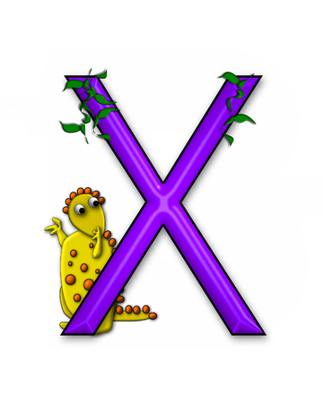 jungle vines: The letter X, in the alphabet set Dino Roaring, is decorated with jungle vines and a 3D dinosaur. Stock Photo