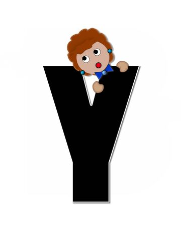 peek: The letter Y, in the alphabet set Childlike Expressions, is black and outlined with white.  Children peek around edges of letters with a collection of different smiles and expressions. Stock Photo