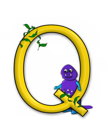 jungle vines: The letter Q, in the alphabet set Dino Roaring, is decorated with jungle vines and a 3D dinosaur.