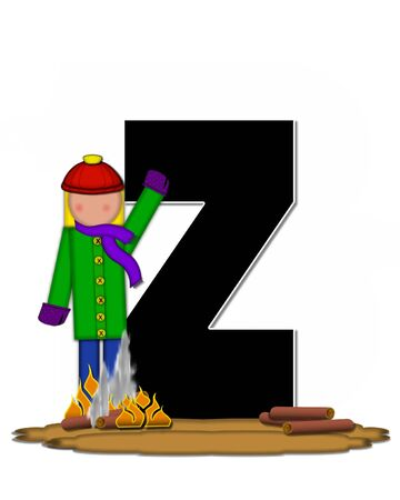 The letter Z, in the alphabet set Children Camp Fire is black and outlined with white.  Children, are dressed in cap, scarf and mittens and at their feet is a camp fire.