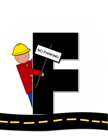 highway signs: The letter F, in the alphabet set Children Highway Construction, is black and outlined with white.  Child stands or sits on highway holding highway construction signs.