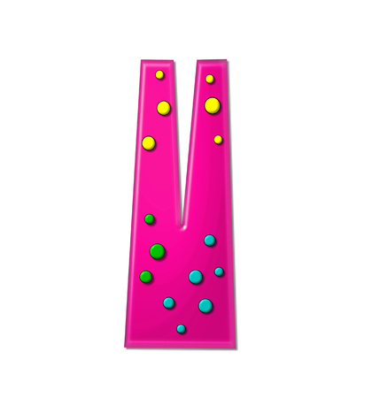 hot pink: The letter V, in the alphabet set Polka Dot Party, is hot pink.   3D multi-colored dots decorate letter.