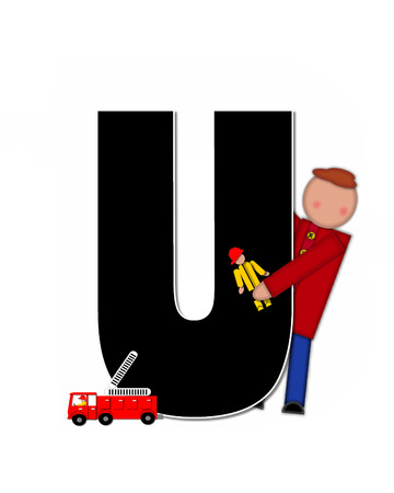 reflects: The letter U, in the alphabet set Children Play Time, is decorated a child holding toys that reflects the many things from childhood, including, yoyo, trucks, cars, dolls, sports equipment and stuffed toys.
