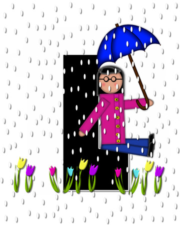 The letter L, in the alphabet set Children April Showers is black and trimmed with white.  Child holds unbrella while rain drops fall on her and Spring tulips. Stock Photo