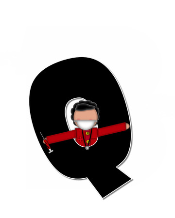 cuff: The letter Q, in alphabet set Children Healthcare is black.  Letters are decorated with Physician, perscription and medical equipment such as thermometer, stethoscope, and blood pressure cuff. Stock Photo
