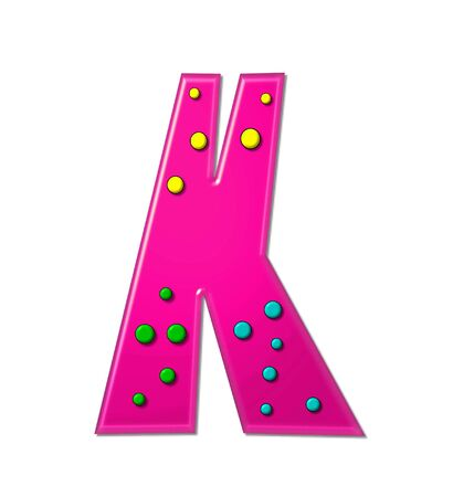 hot pink: The letter K, in the alphabet set Polka Dot Party, is hot pink.   3D multi-colored dots decorate letter.