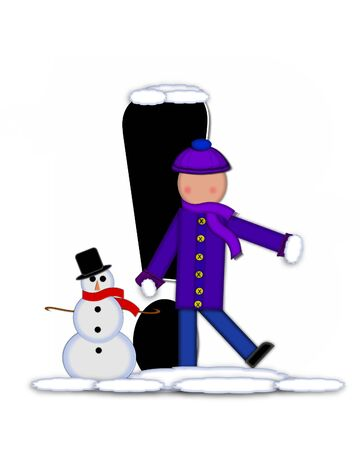 Exclamation mark, in the alphabet set Children Building Snowman is black and outlined with white.  Child holds wearing cap, scarf and mittens, holds snow ready to pack onto his snowman.