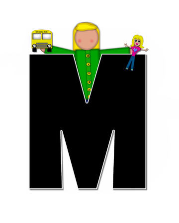 child holding sign: The letter M, in the alphabet set Children Play Time, is decorated a child holding toys that reflects the many things from childhood, including, yoyo, trucks, cars, dolls, sports equipment and stuffed toys.
