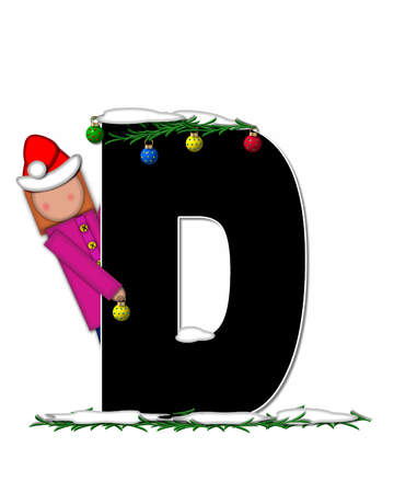 boughs: The letter D, in the alphabet set Children Christmas Ornaments, is decorated snow and pine boughs.  Child has Santa Claus hat nad decorates leter.