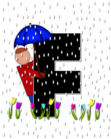 april showers: The letter F, in the alphabet set Children April Showers is black and trimmed with white.  Child holds unbrella while rain drops fall on her and Spring tulips.