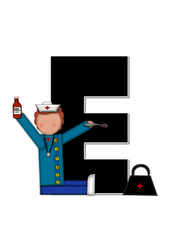 cuff: The letter E, in alphabet set Children Nursing Career is black.  Letters are decorated with nurse, perscription and medical equipment such as thermometer, stethoscope, and blood pressure cuff.