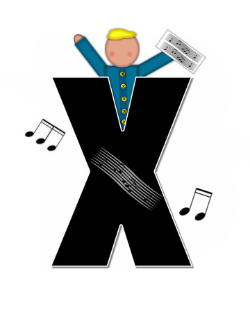 The letter X, in the alphabet set Children Music is black and outlined with white.  Child is surrounded by musical notes.  Alphabet set includes guitars and musical scores.