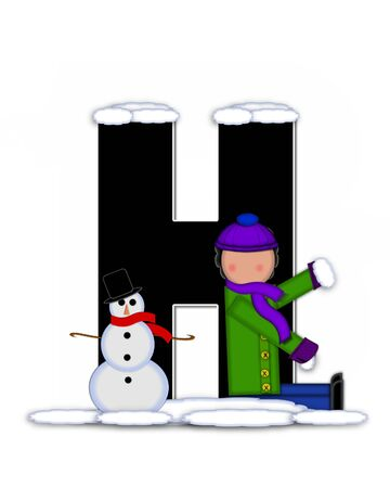 snow cap: The letter H, in the alphabet set Children Building Snowman is black and outlined with white.  Child holds wearing cap, scarf and mittens, holds snow ready to pack onto his snowman.