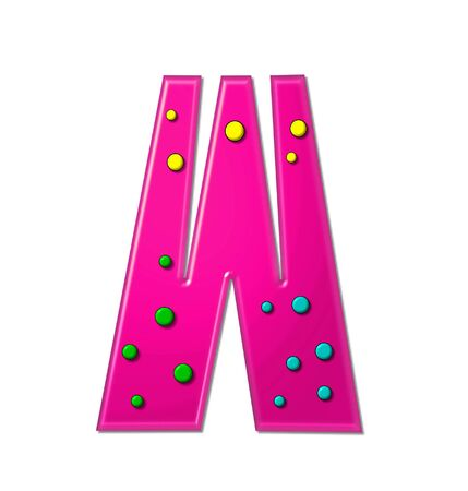 hot pink: The letter W, in the alphabet set Polka Dot Party, is hot pink.   3D multi-colored dots decorate letter.