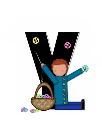 The letter Y, in the alphabet set Children Sewing is black and trimmed with white. Child holds button and needle.  A basket full of buttons sits besides letter. Stock Photo