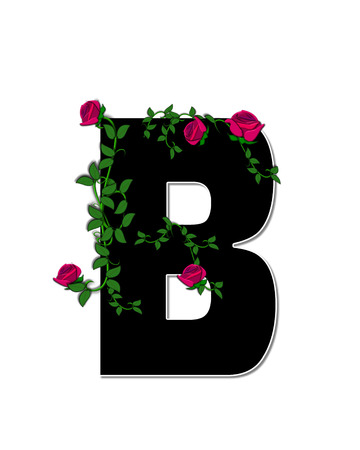 spread around: The letter B, in the alphabet set Rose Trellis, is black with white outline.  Roses and vines grow and spread around letter.