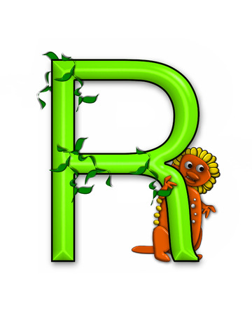 jungle vines: The letter R, in the alphabet set Dino Roaring, is decorated with jungle vines and a 3D dinosaur.